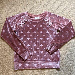 Adorable velour swearshirt, euc! Size 10